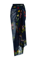 Stella Mccartney Embroidered Floral Sarong Navy