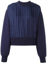 Each X Other Contrast Pinstripe Sweatshirt Blue