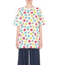 Mini Cream Smiley Print Cotton Jersey T Shirt Whx
