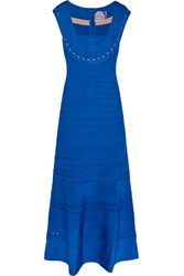 Herve Leger Cutout Bandage Gown Royal Blue