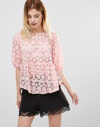 Traffic People Smock Top In Burnout Fabric Peach Pink