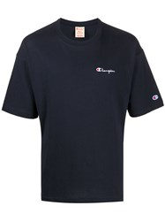 Champion Embroidered Logo Crew Neck T Shirt Blue