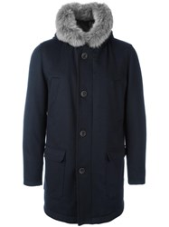 Herno Hooded Mid Coat Blue