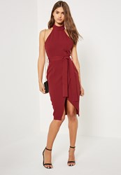 Missguided Burgundy High Neck Belted Tailored Midi Dress