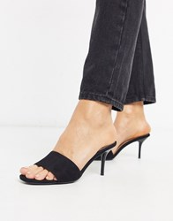 New Look Leather Stiletto Mules In Black