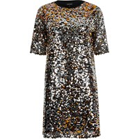 River Island Womens Silver Sequin T Shirt Dress