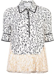 Yigal Azrouel Orchid Vine Pleated Top White
