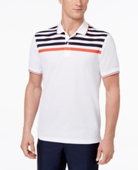Club Room Men's Striped Yoke Cotton Polo Only At Macy's Bright White