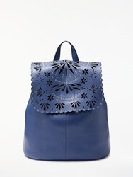 And Or Isabella Leather Cutwork Backpack Bag Blue