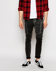 Asos Super Skinny Trousers With Biker Style Panels In Acid Wash Black