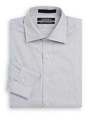 Saks Fifth Avenue Slim Fit Textured Cotton Dress Shirt Grey
