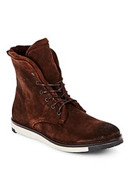 Diesel Krepped Lace Up Boots Brown