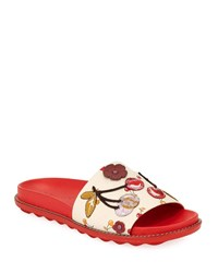 Coach Route 41 Embellished Sport Slide Sandals Red Ivory Red