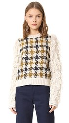 Sea Fringe Sleeve Sweater Cream Black Yellow Check Multi