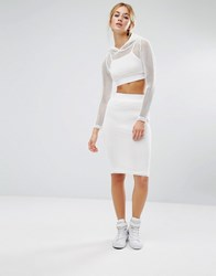 Noisy May Mesh Overlay Midi Skirt White