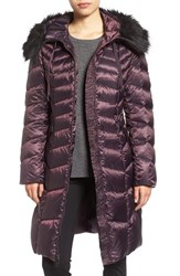 Tahari Women's Emma Quilted Down And Feather Coat With Faux Fur Trim Velvet