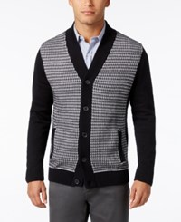 Alfani Men's Big And Tall Colorblocked Textured Panel Cardigan Only At Macy's Deep Black Combo