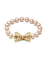 Miriam Haskell 8Mm Faux Pearl Bow Bracelet Gold