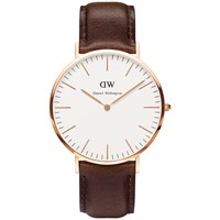 Daniel Wellington 0109Dw Men's Classy Rose Gold Plated Leather Strap Watch Brown White