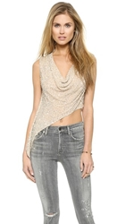 Haute Hippie Cropped Cowl Tank With Sequins Buff Silver