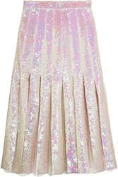 Christopher Kane Pleated Sequined Tulle And Silk Satin Midi Skirt Off White