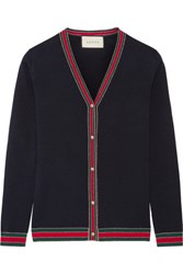 Gucci Metallic Trimmed Merino Wool Cardigan Navy