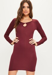 Missguided Burgundy Keyhole Long Sleeve Bodycon Dress Plum