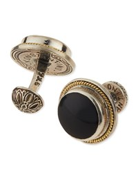 Konstantino Round Onyx And Gold Cuff Links