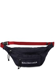 Balenciaga Logo Detail Nylon Belt Bag Navy