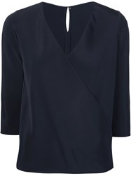 Peter Cohen Wrap Blouse Blue