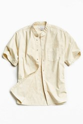 Urban Outfitters Uo Acid Wash Band Collar Short Sleeve Button Down Shirt Tan