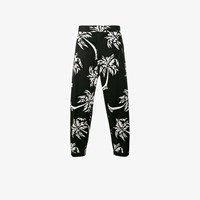 Dolce And Gabbana Palm Tree Print Cropped Trousers Black