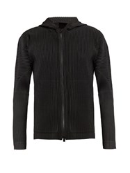 Homme Plisse Issey Miyake Hooded Zip Through Pleated Jacket Black