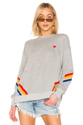 Spiritual Gangster Heart Stripe Crew Neck Sweatshirt Gray