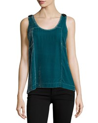 See By Chloe Crushed Velvet Beaded Tank Emerald