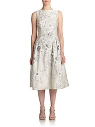 Rickie Freeman For Teri Jon Floral Applique Dress Platinum