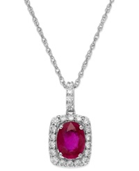 Macy's Ruby 1 Ct. T.W. And White Sapphire 3 8 Ct. T.W. Pendant Necklace In Sterling Silver