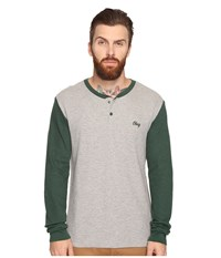 Obey Note Long Sleeve Henley Heather Grey Multi Men's Clothing Gray