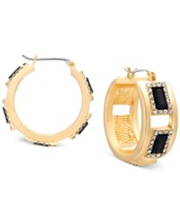 T Tahari Rectangle Stone With Crystals Hoop Earrings Gold