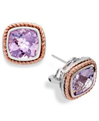 Macy's Sterling Silver And 18K Rose Gold Pink Amethyst Stud Earrings 7 1 4 Ct. T.W.