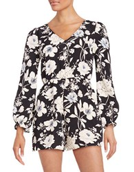 Design Lab Lord And Taylor Floral Romper Black White