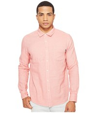 Huf Course Long Sleeve Chambray Shirt Pink Men's Clothing