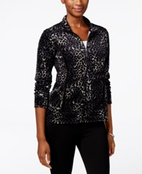 Karen Scott Petite Printed Trim Mock Neck Jacket Only At Macy's