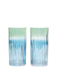 Luisa Beccaria Set Of Two Ridged Glasses Green Multi