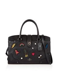 Coach Embellished Mercer 30 Satchel Black