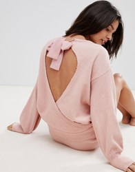 Micha Lounge Open Back Jumper With Bow Tie Neck Co Ord Pink