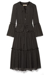 Michael Michael Kors Tiered Polka Dot Chiffon Midi Dress Black