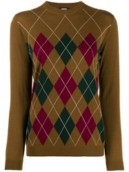 Aspesi Argyle Knit Jumper Brown