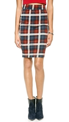 J.O.A. Checked Pencil Skirt Navy Red