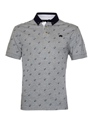 Raging Bull Print Regular Fit Polo Shirt Grey